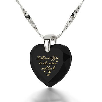 I Love You To The Moon And Back 925 Sterling Silver Cubic Zirconia Love Gifts For Girlfriend
