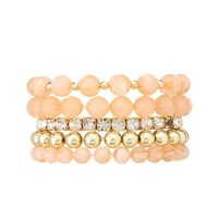 Rhinestone and Bead Stretch Bracelets - 5 Pack