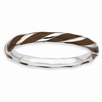Sterling Silver Twisted Brown Enameled 2.4 x 2.0mm Stackable Ring: RingSize: 6