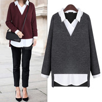 Fashionable woman shirt knitted sweater
