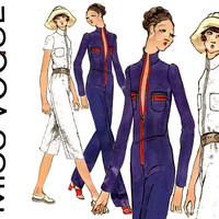 1970s Jumpsuit Pattern Uncut Bust 36 Miss Vogue 8011 Zip Front Maxi or Midi Length Jumpsuit Standing Collar Womens Vintage Sewing Patterns