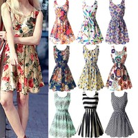 Plus Size Chic  Sleeveless Floral Casual Sun Dress