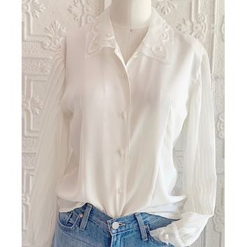 Vintage Pleated Sleeve Blouse