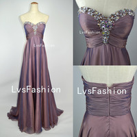 A Line Strapless Sweetheart With Crystal Long Gray Purple Chiffon Prom Dresses, Evening Gown, Evening Dresses, Party Dresses