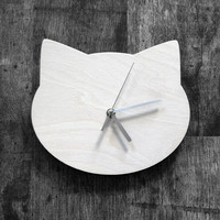 Cat head shape wall clock in bleached pine colour