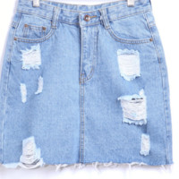 Ripped Denim Skirts
