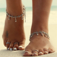 Boho Turkish Silver Antalya Flower Ball Anklet Bracelet