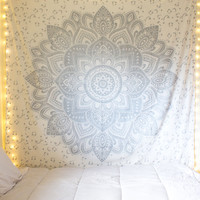 Silver Color Geometric Flower Ombre Mandala Wall Tapestry on RoyalFurnish.com