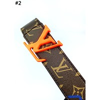 LV new men and women models personality wild smooth buckle belt #2