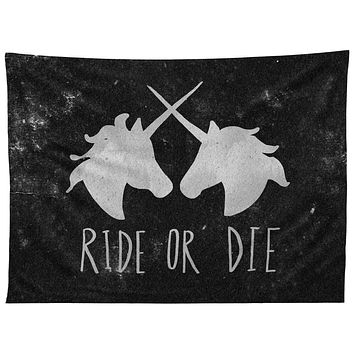 Leah Flores Ride or Die Unicorns Tapestry