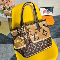 LV Louis Vuitton letter color matching letter printing handbag shoulder bag messenger bag shopping bag