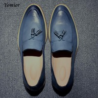 Yomior Brand Mens Pointed Toe Dress Wedding Shoes Famous Tassel Footwear Male Formal Flats Fashion Oxfords Shoes Brogue Shoes