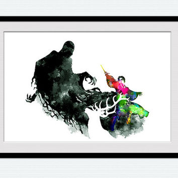 Harry Potter and stag vs dementor, Harry Potter watercolor print, colorful poster, silhouette, wall art decor, gift, nursery, fantasy, W96