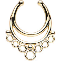 Gold IP Bountiful Bubbles Non-Pierced Clip On Septum Ring | Body Candy Body Jewelry