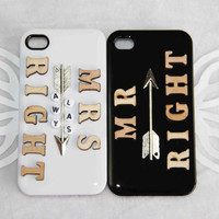 couple phone case Mr right protective case for iPhone 5/4/4s personalized words phone case mrs always right anniversary gift wedding gift