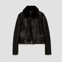 FAUX LEATHER BIKER JACKET WITH QUILTED INTERIOR