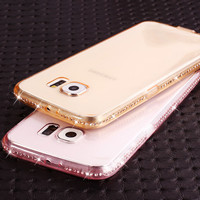 Soft Transparent Diamond Phone Cases for Samsung Galaxy S6 S6 Edge S7 S7 Edge/A5 A7 A8/J5 A8/J5 J7