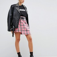 The Ragged Priest Brushed Check Mini Skirt With Pin at asos.com