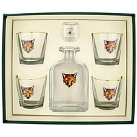 Regal Fox Decanter Set with Old Fashioned Glasses by Richard E. Bishop