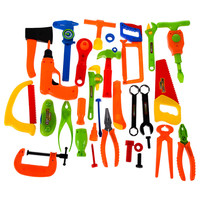 34X Builder Accessories Set Child's Pretend Play Builders Plastic Fancy Dress Accessories Set - Classic Tool Toys Boys Gifts