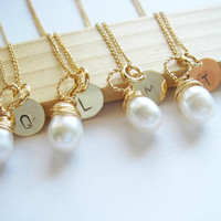 Bridesmaid Gift Set 4 Freshwater Pearl and 14k Gold Fill Stamped Monogram Necklace, Initial Necklace, Personalize Necklace, Wedding Gift Set