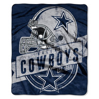 Dallas Cowboys NFL Royal Plush Raschel Blanket (Grand Stand Raschel) (50in x 60in)