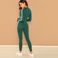 Green Highstreet Raglan Sleeve Striped Side Zip Front Mid Waist Long Sleeve Jumpsuit Fashion Party Women Jumpsuits