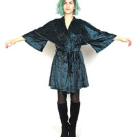 90s Crushed Velvet Kimono Forest Green Robe Goth Fairy Slouchy Loose Oversize Belted Cardigan Bell Sleeves (M/L)