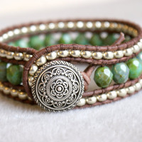 Green Turquoise Picasso leather bracelet, cuff, green, Shabby chic, bohemian surfer glam, rustic, silver, trendy jewelry