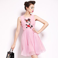 Pink Silk Embroidered Dress