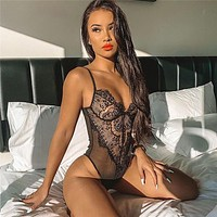Black Lace Bodysuit Women Hollow Out Bodycon Sexy Perspective Bodysuit Jumpsuit Women Overalls body mujer