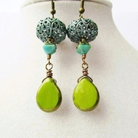 Lime Green Picasso Czech Glass Drop & Teal Verdigris Filigree Pendant Boho Dangle Earrings