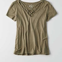 AEO Soft & Sexy Cage Front T-Shirt , Dusty Olive