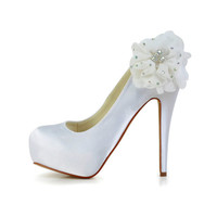 Women's Bridal Ladies Prom Wedding Shoes  Satin High Heels Closed Toe Pumps With Satin pearl flower