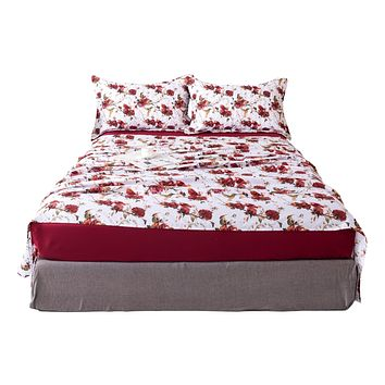 Tache Floral Hummingbirds Burgundy White Vintage Rose Garden Bed Sheet Set (SD-7676)
