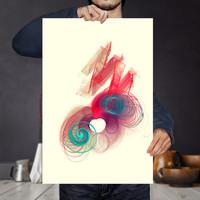 Heart ans Spirals Floating in Energy Waves of Love - Fractal Art | Printable Nebula Poster | Nursery Wall Decor | Quirky Home Decor