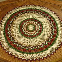 Holiday Red - Green - White Graphic Round Table Topper by RSS Designs In Fiber