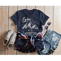 Women's Hipster Explore T-Shirt Mountains Say Yes Adventure Shirt