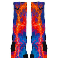 Kaboom Orange Blue Custom Nike Elite Socks