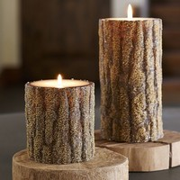 Beaded Bark Pillar Candles