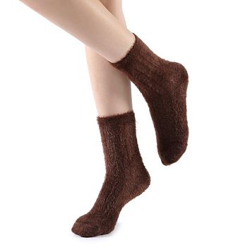 Polly Fuzzy Crew Sock | Brown