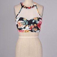 Floral Sheer Crop Top