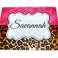 Custom Puzzle, Cheetah Puzzle, Personalized Puzzle, Ring Bearer, Flower Girl, Bridesmaid, Wedding, Picture Puzzle, Jigsaw Puzzle