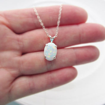 Sterling Silver Opal Necklace, Opal Pendant, October Birthstone, Opal Jewelry