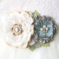 Wedding Sash Flowers - Teal Blue, Ivory and Cream Fabric Flower Belt