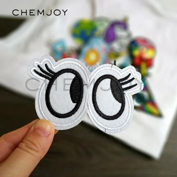 Trendy Fun Eye Embroidered Patch for Clothing Iron on Fabric Cartoon Applique Cute Patch for Denim Jackets Jeans Sewing Accessories AT_94_13