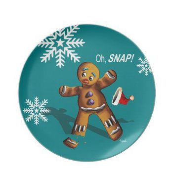 Oh Snap! Cookie Swap Christmas Party | teal Dinner Plates from Zazzle.com
