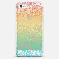Rainbow Transparent Floral Doodle iPhone 5s case by Micklyn Le Feuvre | Casetagram