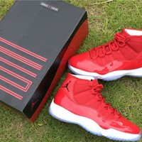 Air Jordan 11 Retro AJ11 All Red Color Nike Sport Basketball Shoes-1