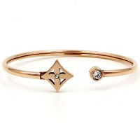 """Louis Vuitton"" LV Stylish Ladies Men Rhombic Shape Flower Plants Titanium Plated Bracelet Couple Bracelet"